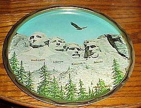 Vintage Mt Rushmore metal souvenir tray South Dakota