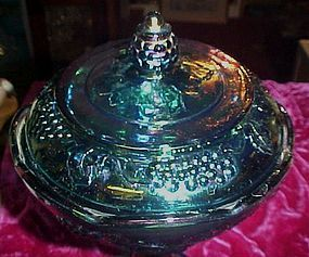 Indiana Harvest blue carnival glass covered compote