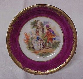 "Limoges Haviland miniature plate 3"" with hanger stand"