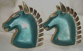 Vintage metal horse head ashtrays blue enamel chrome