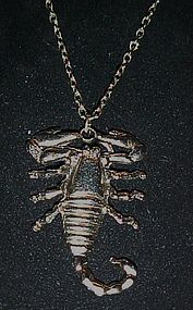 Vintage  silver tone scorpion Scorpio necklace