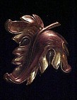Gorgeous  large vintage copper leaf pin