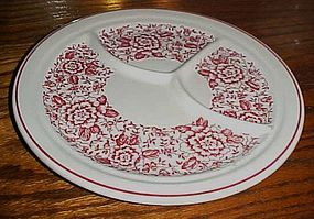 Iroquois China  grill plate with red band and flowers