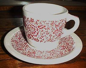 Iroquois china #49 cup and saucer red flowers border