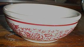 Iroquois soup cereal bowl red band and flowers transfer