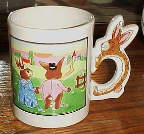Peter Rabbit scene mug with bunny rabbit handle