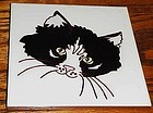 "Custom handmade ceramic 6"" tile black and white cat"