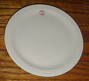 Shenango China Army Medical  red logo plate 7 1/4""