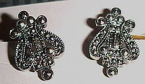 1992 Avon Antique Style Lyre Clip earrings original box