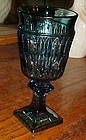 Indiana  Glass Mt Vernon teal blue wine goblet