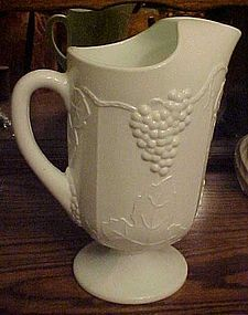Indiana Milk glass Harvest pitcher