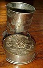 Vintage metal cyclists collapsing portable drink cup