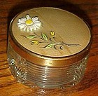 Vintage glass vanity powder jar metal lid and daisy