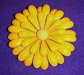 Large Vintage enamel yellow flower pin 3""
