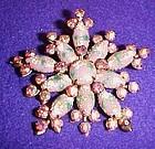 Large vintage mauve snowflake rhinestone pin