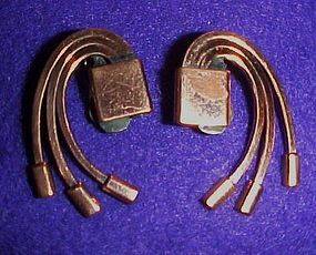 Vintage Renoir modernist copper earrings 1950's
