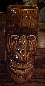 Trader Dicks ceramic dark Brown Tiki Moai drink glass