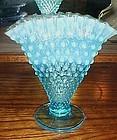 "Fenton Blue hobnail opalescent  fan vase 6 1/2"""