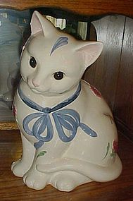 Lenox Poppies on Blue Barnyard Kitten cookie jar