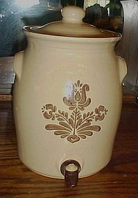 Pfaltzgraff Village Beverage crock dispenser w/ spigot
