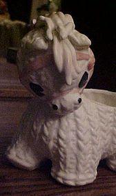 Rare Lefton donkey nursery planter dated 1965 knit look