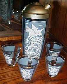 Fox hunt scene wedgewood look 6 pc cocktail shaker set