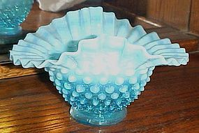 Vintage blue hobnail opalescent double crimp bon bon