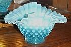 Vintage blue hobnail opalescent double crimp bon bon