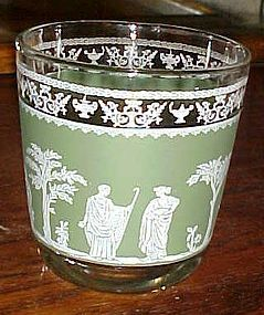 Jeanette Hellenic green Jasperware old fashioned glass