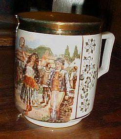 Czech porcelain mug The bartered Bride opera circus