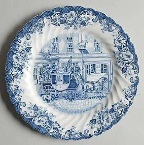 Johnson Brothers Blue Coaching Scenes salad plate 7""