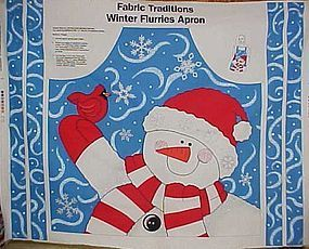 Crafters apron panel Snowman and winter flurries