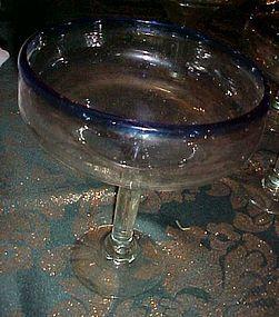 Novica Mexico hand blown margarita glasses cobalt rim