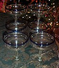 Novica Mexico hand blown margarita glasses cobalt rim