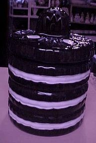 Stack of oreo cookies ceramic cookie jar