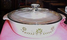 GlasBake green daisy 2.5 qt covered casserole