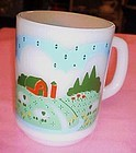 Anchor Hocking  Pastoral Farm Scene and sheep mug