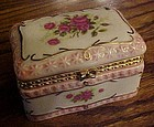 Porcelain hinged trinket box with roses
