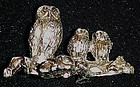 Spoontiques owl family pewter miniature