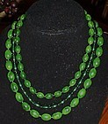 Vintage Emerald swirl plastic necklace fancy clasp
