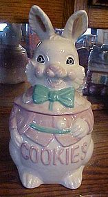 Vintage ceramic rabbit cookie jar with bow tie and vest