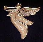 Large lovely enameled angel pin with rhinestones