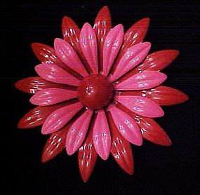 Large vintage red and pink enamel flower pin
