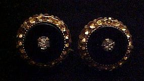 Vintage  black screw back earrings with rhinestone cent