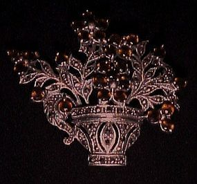 Sterling and marcasite  rhinestone flower basket pin