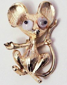 Vintage googly eye mouse pin gold tone