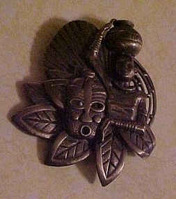 Bronze African woman and mask tribal pin