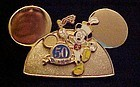Rare Disney pin 50th anniversary Golden Mouse Ears