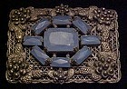 Authentic Antique Victorian pin Delphite rhinestones