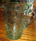 Hand blown  lt green crackle glass water pitcher 6 3/4""